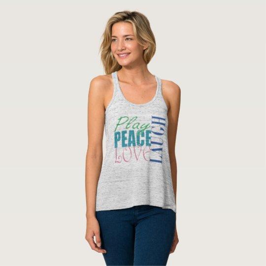 Juego, paz, amor, risa camiseta con tirantes