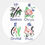 Juegos de la flor de Mahjong, azul, rojo, verde, Pegatina Redonda