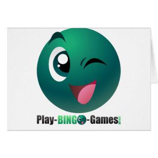 Juegos logotipo y mascota del bingo del juego tarjeta de felicitación