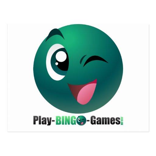 Juegos logotipo y mascota del bingo del juego postal