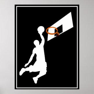 Jugador de básquet de la clavada - silueta blanca póster