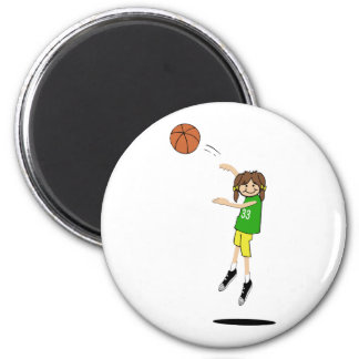 Jugador de básquet de sexo femenino imán redondo 5 cm