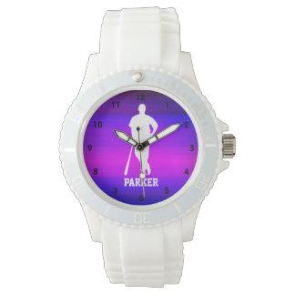 Jugador de béisbol; Azul violeta y magenta Relojes De Pulsera