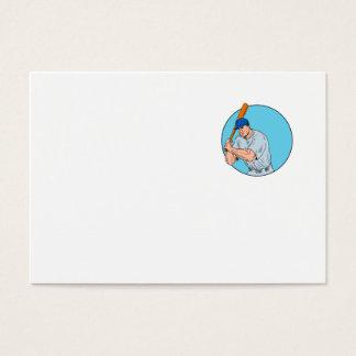 Jugador de béisbol que celebra el dibujo del palo tarjeta de visita
