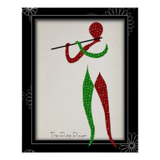 Jugador de flauta musical vestido en pañuelo póster