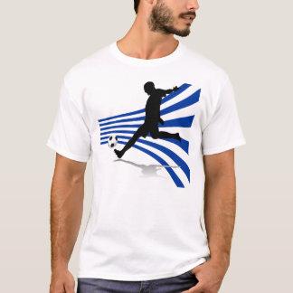 Jugador de fútbol azul y blanco camiseta