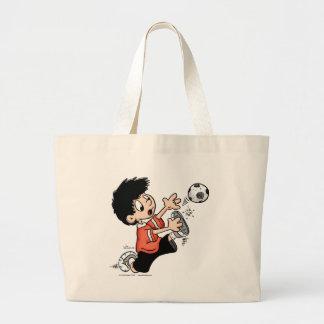 Jugador de fútbol bolsa tela grande