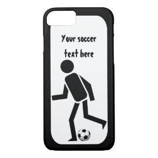 Jugador de fútbol y bola blancos y negros funda iPhone 7