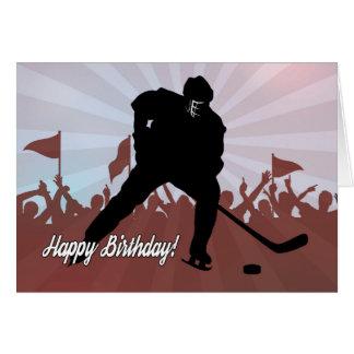 Jugador de hockey de la silueta para el cumpleaños tarjeta de felicitación