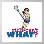 Jugador de LaCrosse del chica en azul Póster