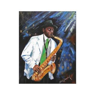 """Jugador de saxofón 11"""" x 14"""" impresión de la lona"""