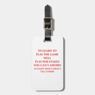 jugador del juego etiqueta para maletas
