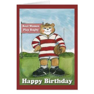 Jugador del rugbi - tarjeta de cumpleaños femenina