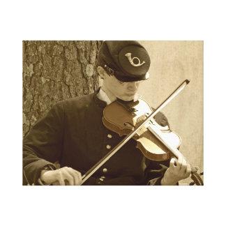 Jugador del violín de la guerra civil impresión en lona