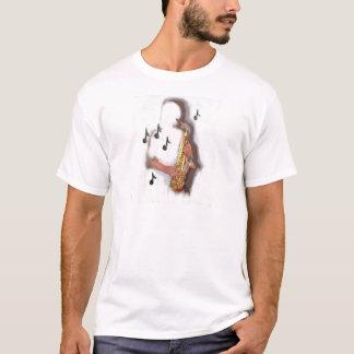 Jugador, música e instrumento de saxofón abstracto camiseta