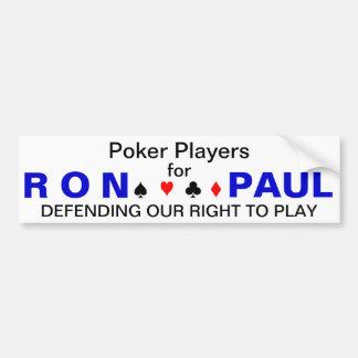 Jugadores de póker para Ron Paul Pegatina Para Coche