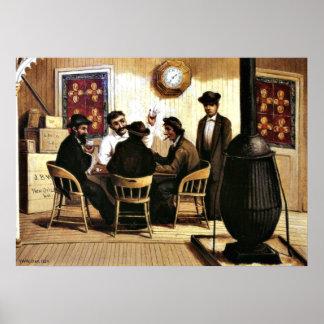 Jugadores de tarjeta en el barco de vapor, pintura póster