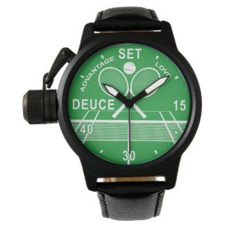 Jugadores de tenis, reloj del tenis