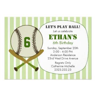 Juguemos a la fiesta de cumpleaños del béisbol de  invitación personalizada