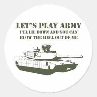 Juguemos al ejército etiqueta redonda