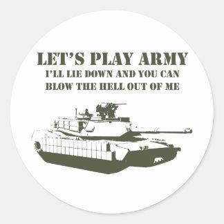 Juguemos al ejército pegatina redonda