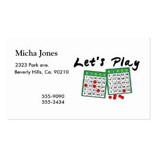 Juguemos el bingo tarjetas de visita
