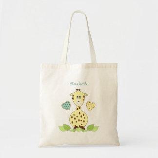Juguetes amarillos personalizados de la jirafa bolso de tela