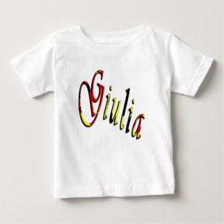 Julia, nombre, logotipo, camiseta del blanco de