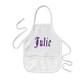 Julia, nombre, logotipo, delantal artístico de