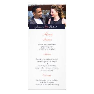 Junto menú moderno feliz del boda de la foto del | diseño de tarjeta publicitaria