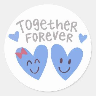 Junto para siempre pegatinas de los corazones pegatina redonda
