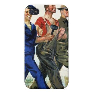 Juntos ganamos, poster del vintage WWI iPhone 4 Carcasas
