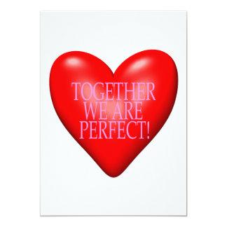Juntos somos perfectos invitación 12,7 x 17,8 cm
