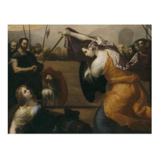 Jusepe Ribera- el duelo de mujeres Tarjeta Postal