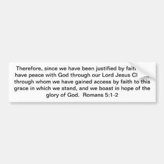 ¡Justificación a través de Cristo! Pegatina Para Coche