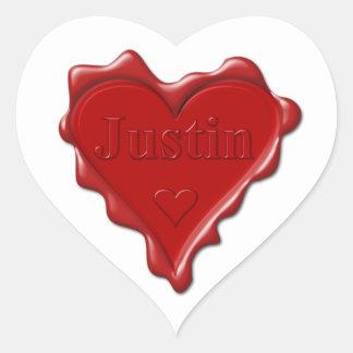 Justin. Sello rojo de la cera del corazón con