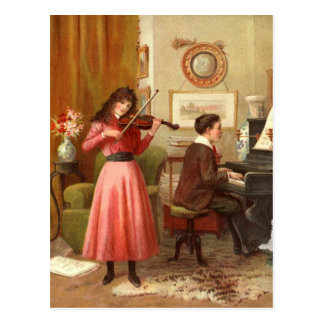 Juventud del vintage que juega la postal musical