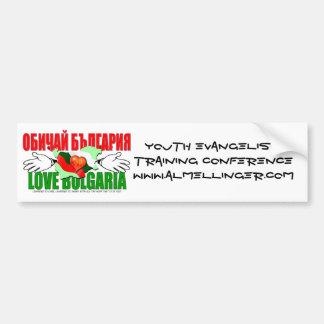 Juventud EvangelismTra de Bulgaria del amor… Pegatina De Parachoque