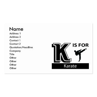 K está para el karate tarjetas de visita