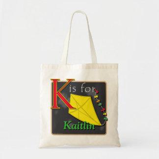 K está para la cometa K está para Kaitlin Bolsa Tela Barata