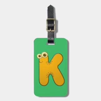 K - monograma animal - etiqueta del equipaje