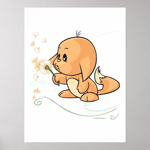 Kacheek anaranjado que desea en un diente de león poster
