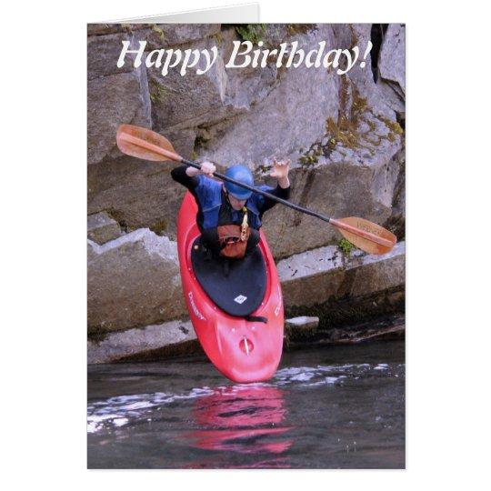 Kajak-er tomando la tarjeta de cumpleaños de la