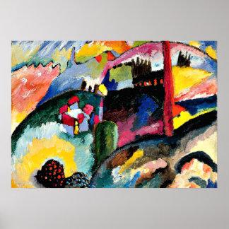 Kandinsky - paisaje con la chimenea de la fábrica póster
