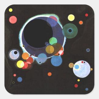 Kandinsky - varios círculos pegatina cuadrada