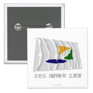 Kangwon-hace la bandera que agita con nombre chapa cuadrada 5 cm