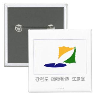 Kangwon-señale por medio de una bandera con nombre chapa cuadrada 5 cm