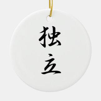 Kanji japonés para la independencia - Dokuritsu Adorno Redondo De Cerámica