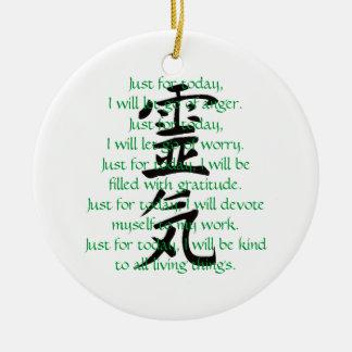 Kanji y preceptos de Reiki con Usui Adorno Redondo De Cerámica