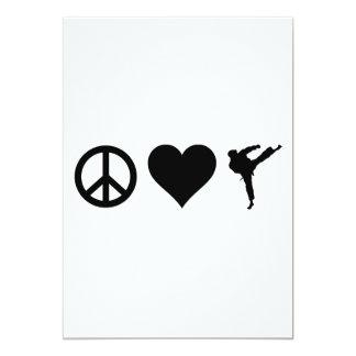 Karate del amor de la paz invitación 12,7 x 17,8 cm